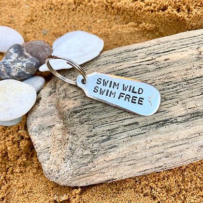 Swim Wild Swim Free Keyring