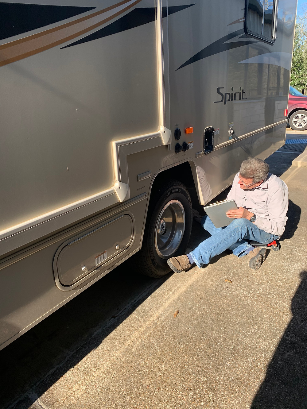 An RV owner avoids common RV mishaps by having his trailer inspected.