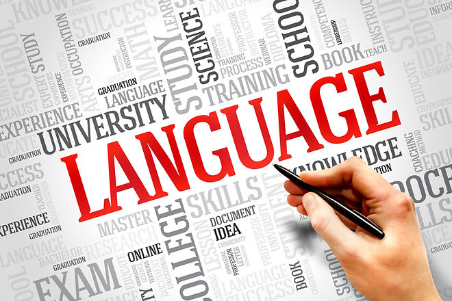 LANGUAGE word cloud, education business