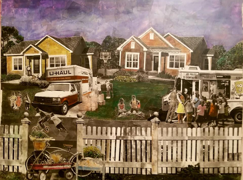 """Series: """"This is America"""" (America Gentrified)  Title: """"New Neighbors"""" Medium: Collage on Canvas Size: 20""""x16""""   On Display Harvey Gantt Center, Charlotte NC"""