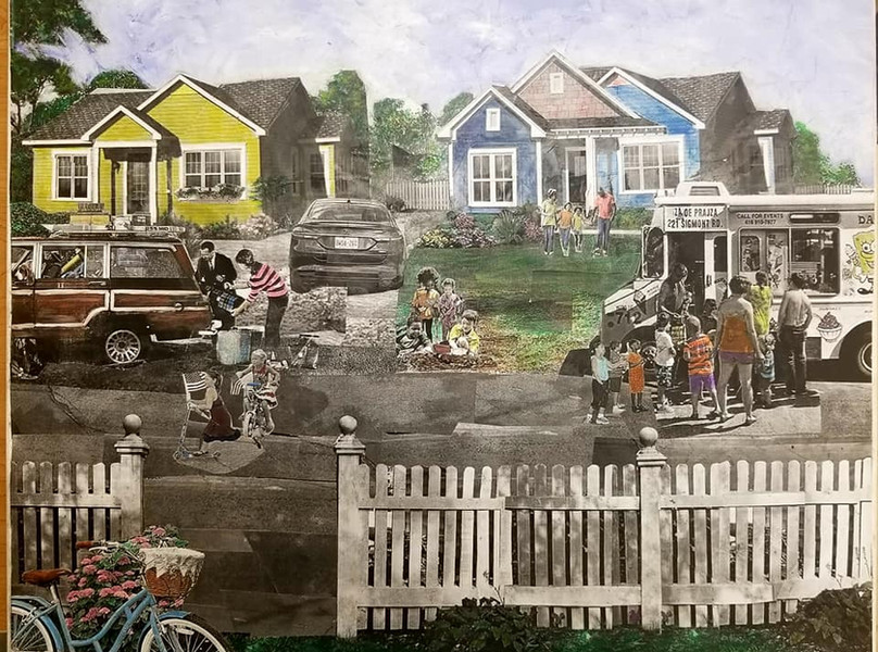 "Series: ""This is America"" (America Gentrified)  Title: ""White Flight"" Medium: Collage on Canvas Size: 20""x16""   On Display Harvey Gantt Center, Charlotte NC"