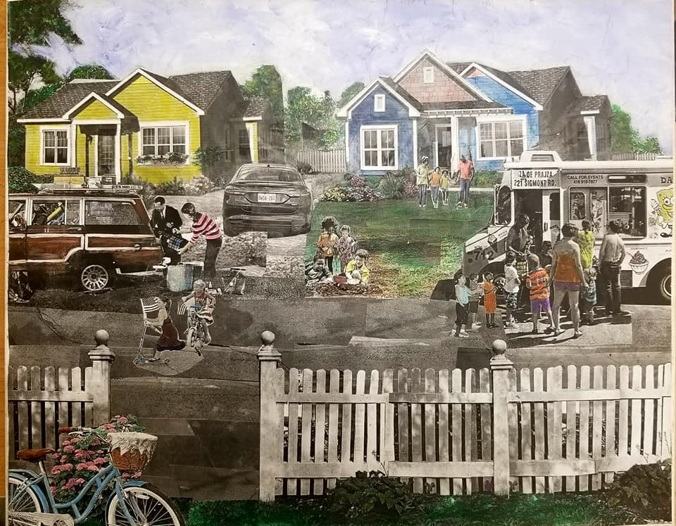 "Series: ""This is America"" (America Gentrified)  Title: ""White Flight"" Medium: Collage on Canvas Size: 20""x16""   On Display Harvey Gantt Center, Charlotte NC"
