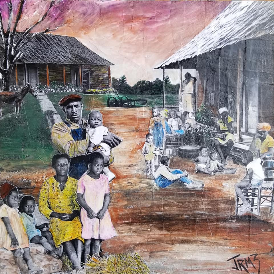 "Series: ""This is America""  Title: The Sharecroppers#2 Medium: Collage on Masonite Board Size: 12""x12""  On Display at Foster's Gallery, Huntersville NC"