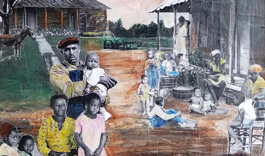 """Series: """"This is America""""  Title: The Sharecroppers#2 Medium: Collage on Masonite Board Size: 12""""x12""""  On Display at Foster's Gallery, Huntersville NC"""