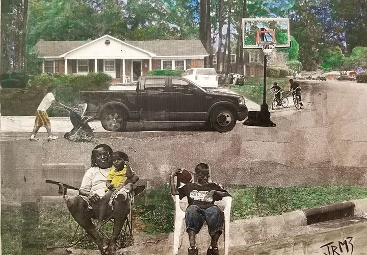 """Sereis: """"This is America""""  Title: Babies, Bikes, and Basketball Medium: Collage on Board Size: 16""""x12""""  Cashapp:  $JohnRMiles Paypal: sotalentedmiles@gmail.com"""