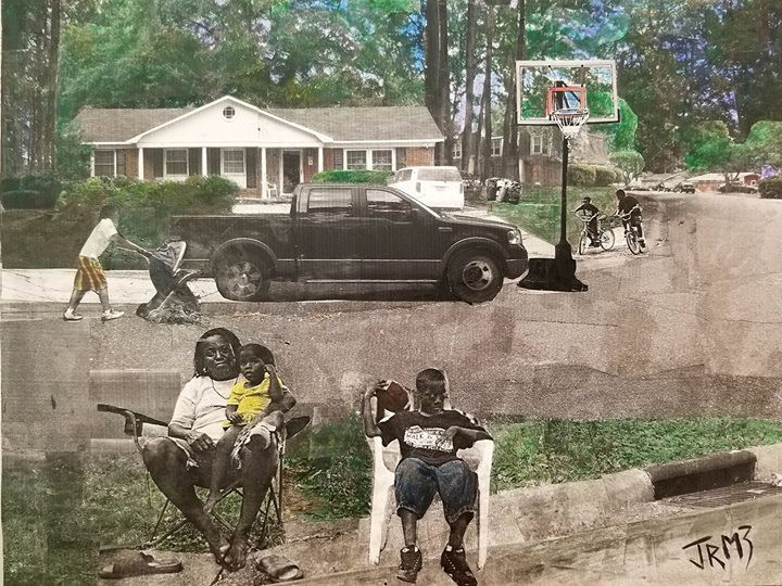 "Sereis: ""This is America""  Title: Babies, Bikes, and Basketball Medium: Collage on Board Size: 16""x12""  Cashapp:  $JohnRMiles Paypal: sotalentedmiles@gmail.com"