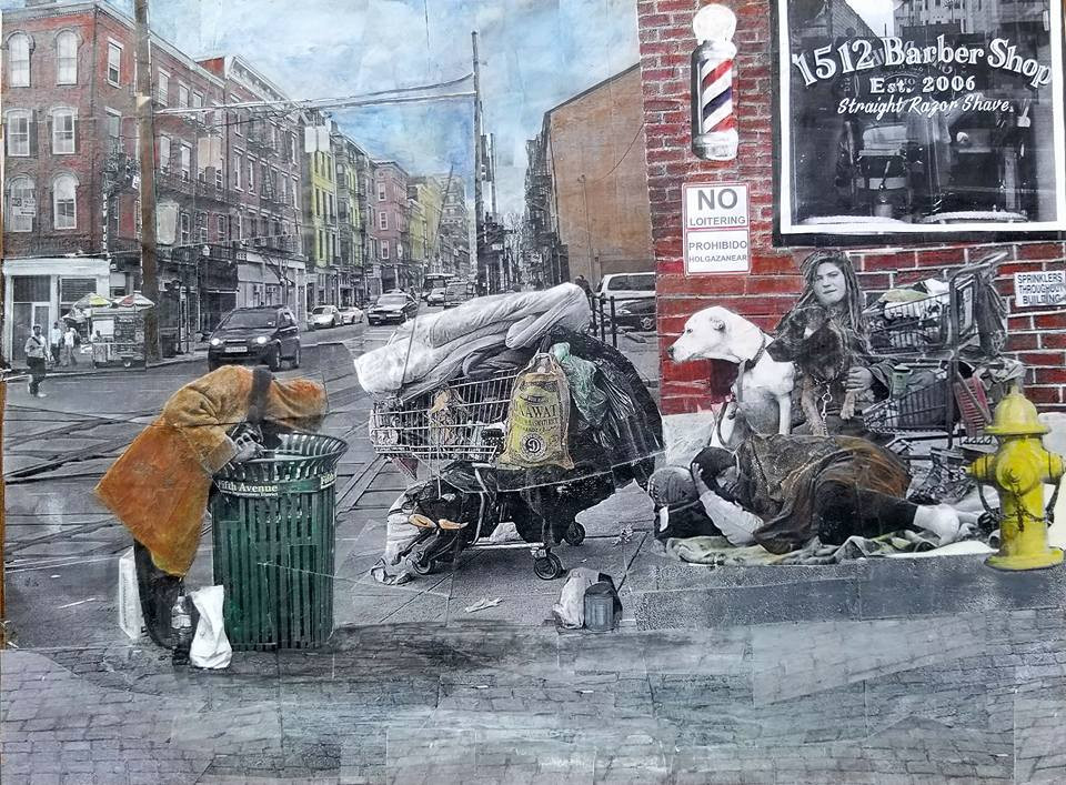 "Series: ""Homelessness in America""  Title: 1512 Barber Shop Medium: Collage on Masonite Board Size: 16""x12""  Cashapp:  $JohnRMiles Paypal: sotalentedmiles@gmail.com"