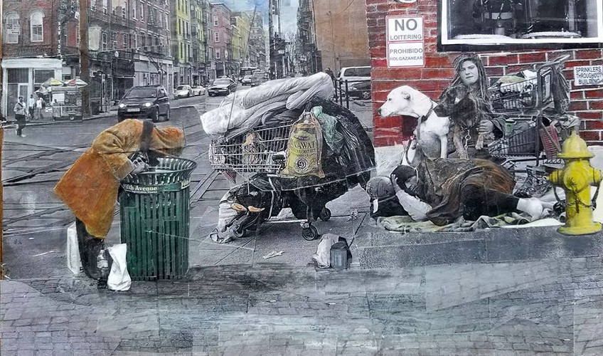 """Series: """"Homelessness in America""""  Title: 1512 Barber Shop Medium: Collage on Masonite Board Size: 16""""x12""""  Cashapp:  $JohnRMiles Paypal: sotalentedmiles@gmail.com"""
