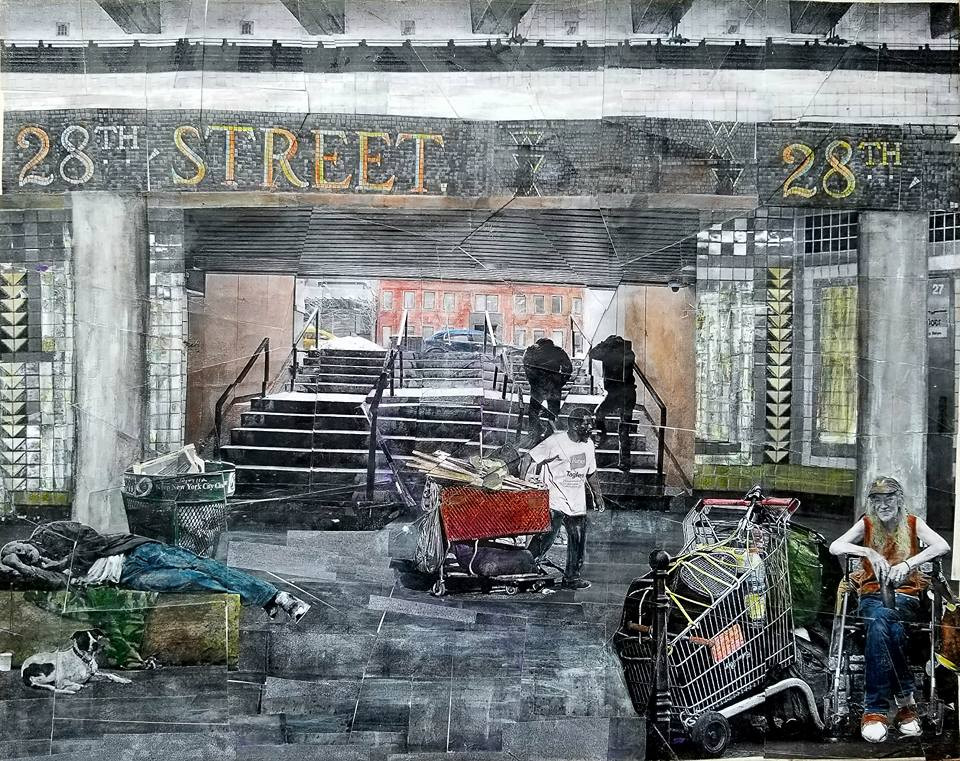 "Series: ""Homelessness in America:  Title: 28th Street Transit Medium: Collage on Canvas Size: 20""x16""  Cashapp:  $JohnRMiles Paypal: sotalentedmiles@gmail.com"