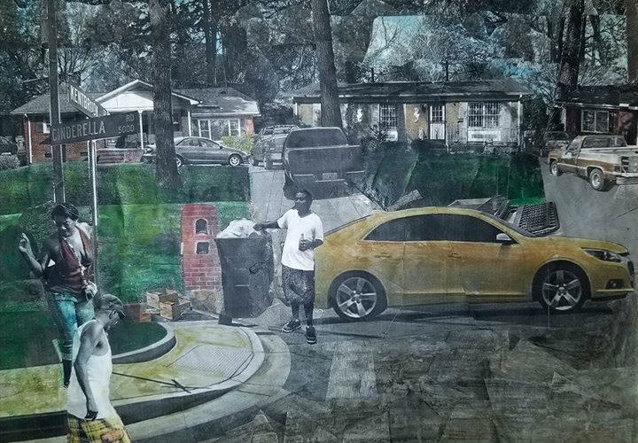 "Sereis: ""This is America""  Title: The Corner Medium: Collage on Canvas Size: 14""x11""  Cashapp:  $JohnRMiles Paypal: sotalentedmiles@gmail.com"