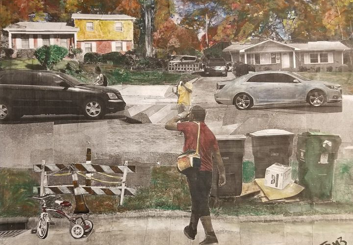 """Sereis: """"This is America""""  Title: On my Way Medium: Collage on Board Size: 16""""x12""""  Cashapp:  $JohnRMiles Paypal: sotalentedmiles@gmail.com"""