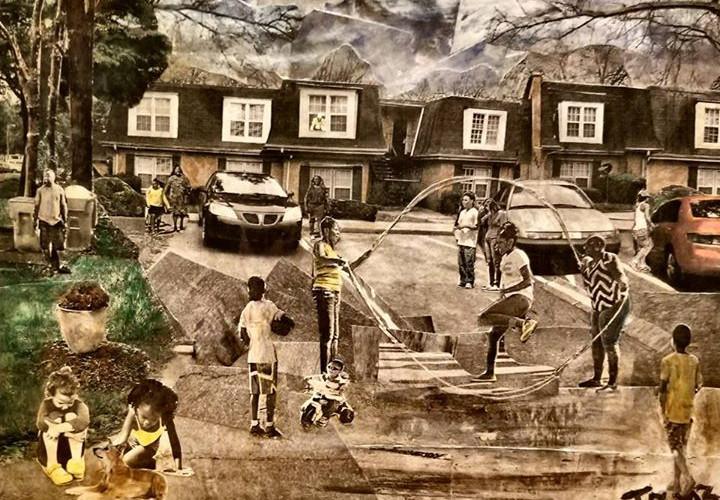 "Title: Summer Time Fun  Medium: Collage on Canvas Size: 16""x12""  On Display Harvey Gantt Center, Charlotte NC"