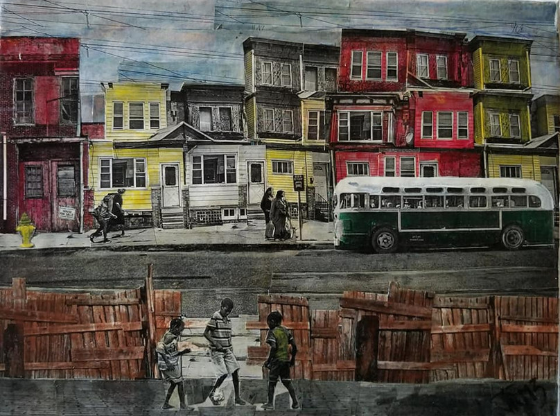 "Series: ""Across the Fence""  Title: Bag Lady Medium: Collage on Canvas Size: 14""x11""  Cashapp:  $JohnRMiles Paypal: sotalentedmiles@gmail.com"