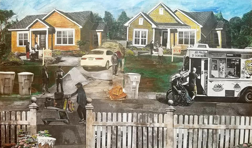 """Series: """"This is America"""" (America Gentrified)  Title: """"New Hood"""" Medium: Collage on Canvas Size: 20""""x16""""   On Display Harvey Gantt Center, Charlotte NC"""