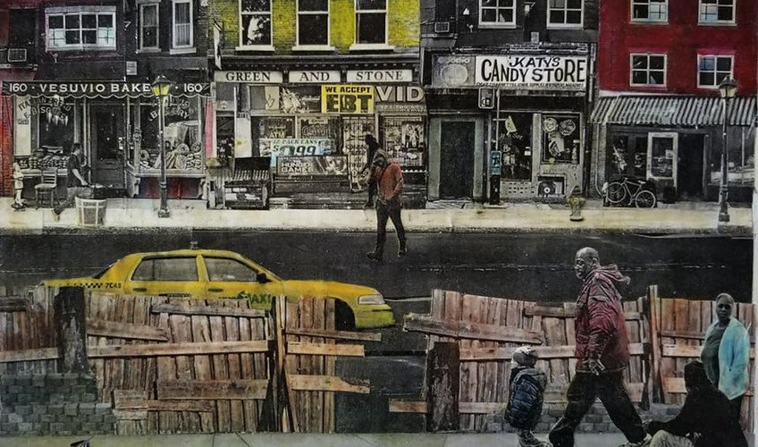 "Series: ""Across the Fence""  Title: Father & Son Medium: Collage on Canvas Size: 14""x11""  Cashapp:  $JohnRMiles Paypal: sotalentedmiles@gmail.com"