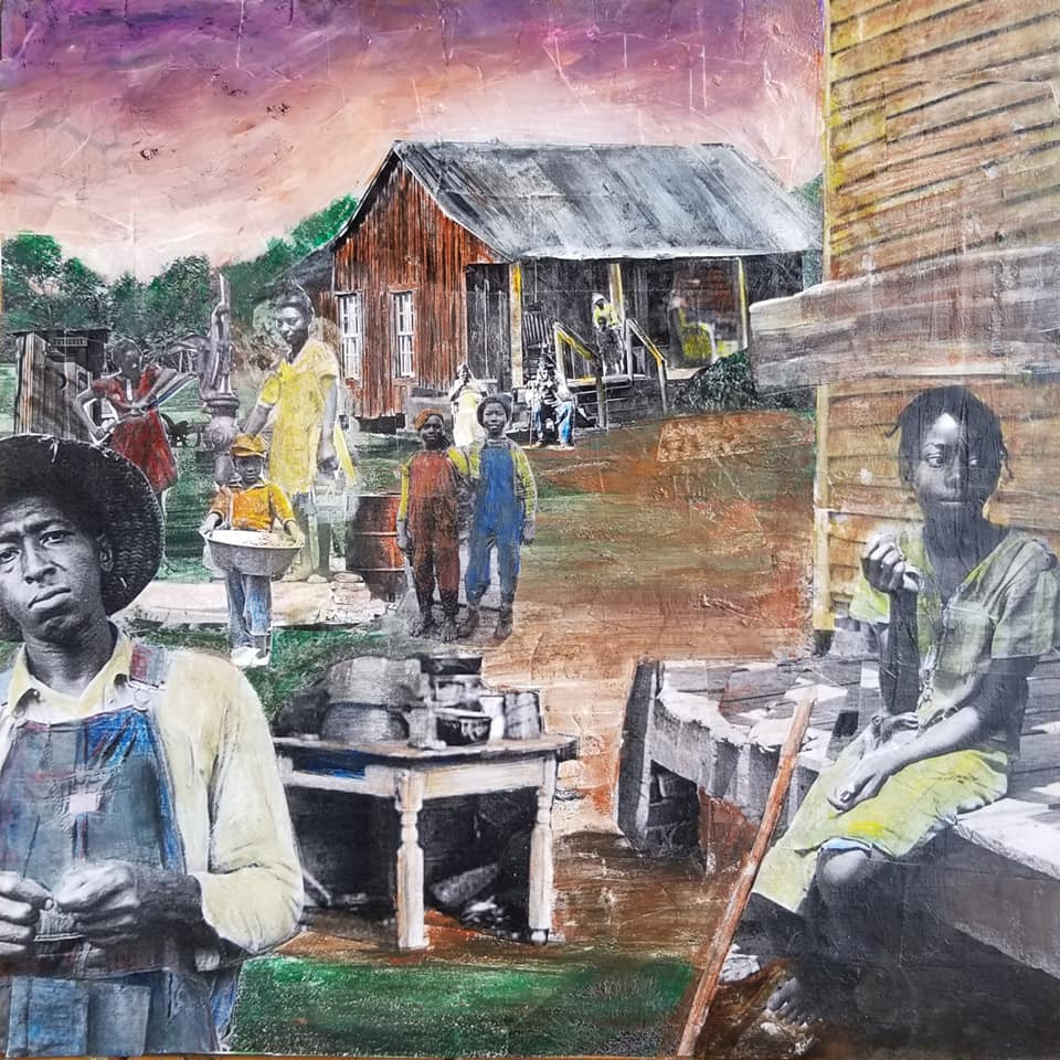 "Series: ""This is America""  Title: The Sharecroppers#3 Medium: Collage on Masonite Board Size: 12""x12""  On Display at Foster's Gallery, Huntersville NC"