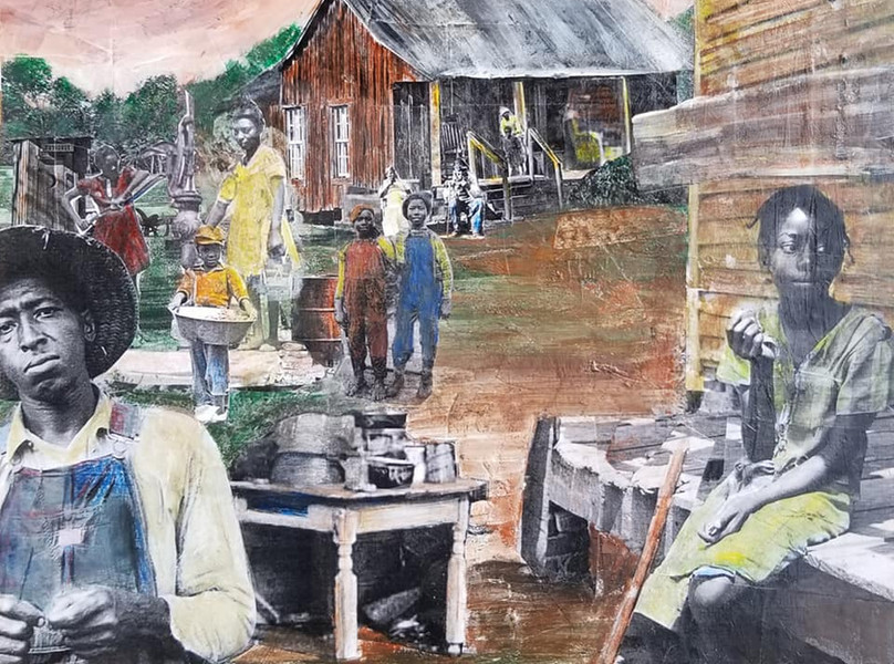 """Series: """"This is America""""  Title: The Sharecroppers#3 Medium: Collage on Masonite Board Size: 12""""x12""""  On Display at Foster's Gallery, Huntersville NC"""