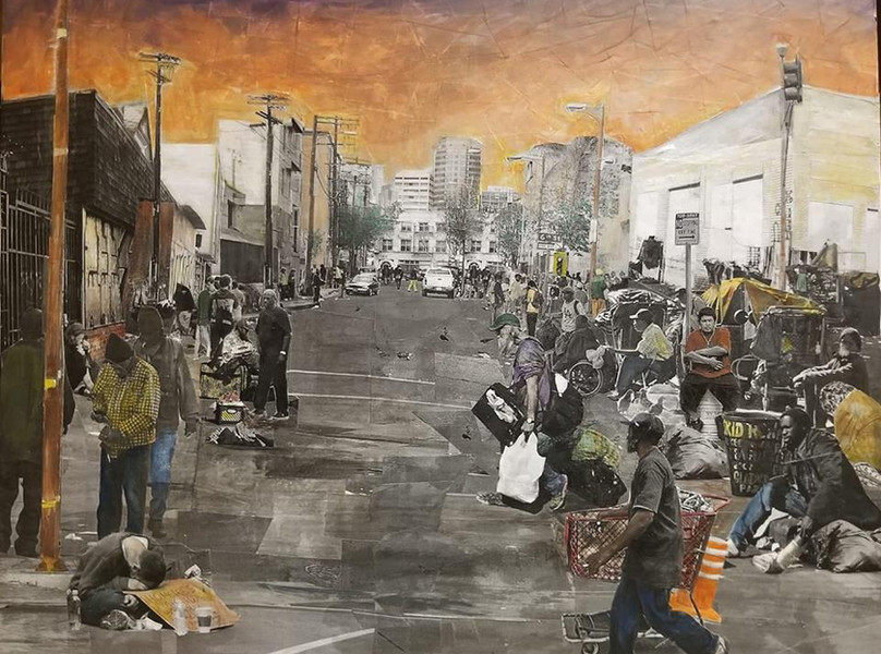 """Series: """"Homelessness in America""""  Title: Skid Row Medium: Collage on Canvas Size: 20""""x16""""  Cashapp:  $JohnRMiles Paypal: sotalentedmiles@gmail.com"""