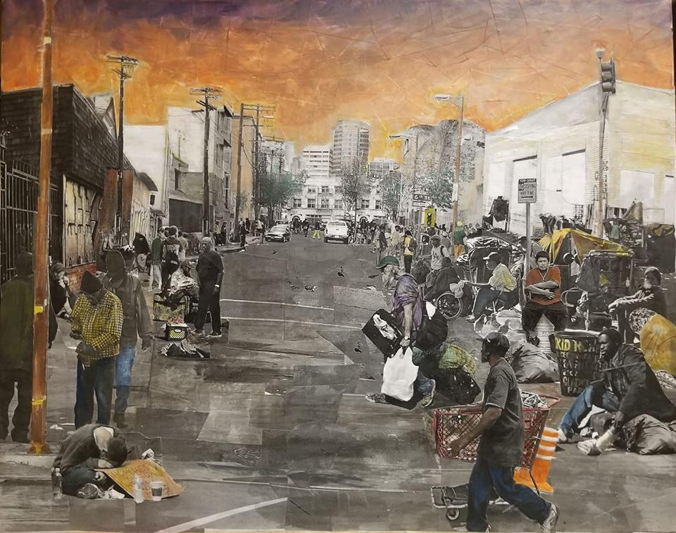 "Series: ""Homelessness in America""  Title: Skid Row Medium: Collage on Canvas Size: 20""x16""  Cashapp:  $JohnRMiles Paypal: sotalentedmiles@gmail.com"