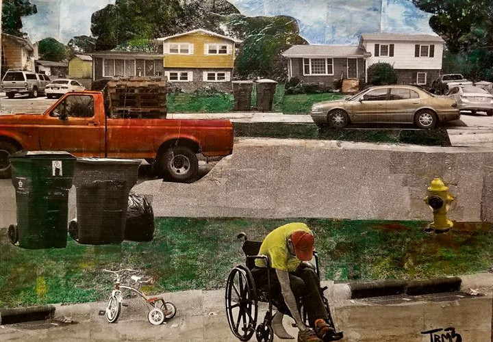 """Sereis: """"This is America""""  Title: Red Truck, Red Tricycle, Red Hat Medium: Collage on Board Size: 16""""x12""""  Cashapp:  $JohnRMiles Paypal: sotalentedmiles@gmail.com"""