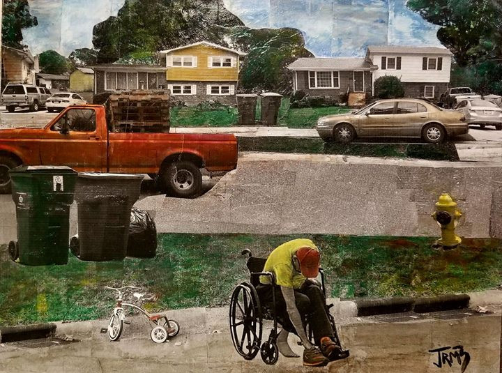 "Sereis: ""This is America""  Title: Red Truck, Red Tricycle, Red Hat Medium: Collage on Board Size: 16""x12""  Cashapp:  $JohnRMiles Paypal: sotalentedmiles@gmail.com"
