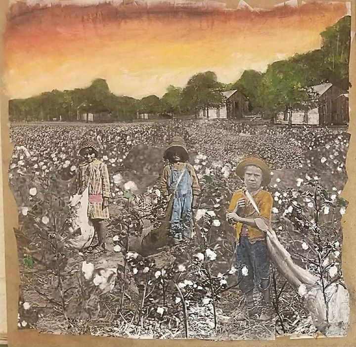 "Series: ""This is America""  Title: The Color of Cotton 5 Medium: Collage on Wood Size: 12""x12""  Cashapp:  $JohnRMiles Paypal: sotalentedmiles@gmail.com"