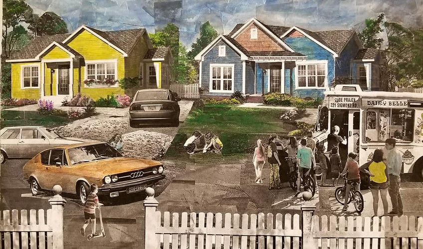 """Series: """"This is America"""" (America Gentrified)  Title: """"No Worries"""" Medium: Collage on Canvas Size: 20""""x16""""   On Display Harvey Gantt Center, Charlotte NC"""