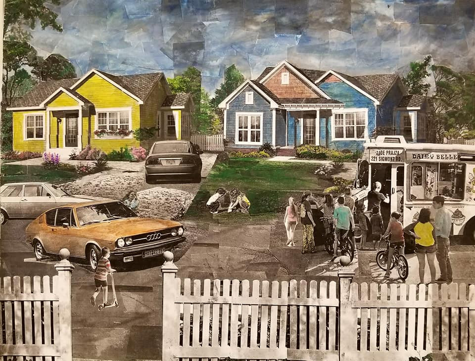 "Series: ""This is America"" (America Gentrified)  Title: ""No Worries"" Medium: Collage on Canvas Size: 20""x16""   On Display Harvey Gantt Center, Charlotte NC"