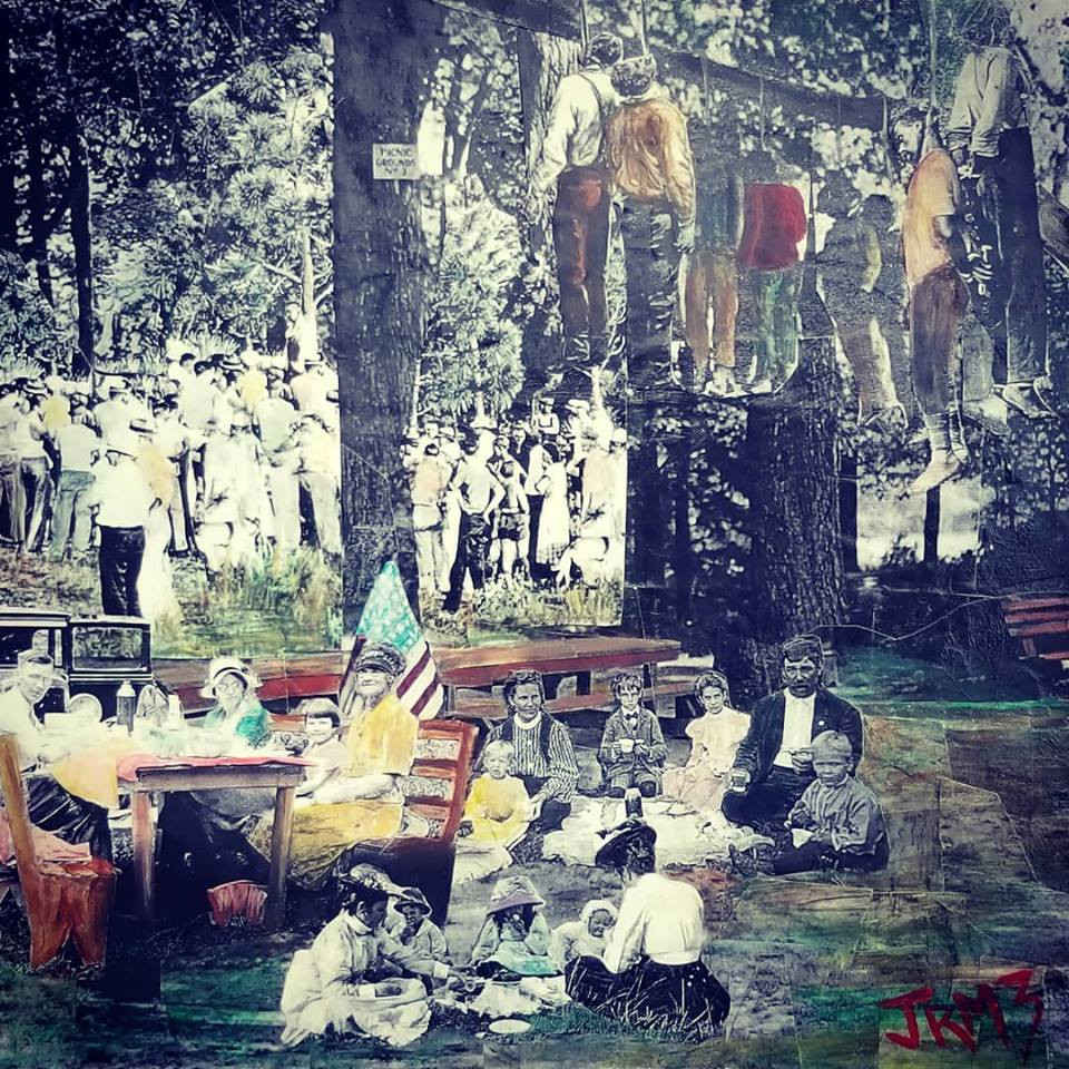 "Series: ""This is America""  Title: ""The Picnic"" Medium: Collage of Masonite Board Size: 12""x12""  Cashapp:  $JohnRMiles Paypal: sotalentedmiles@gmail.com"