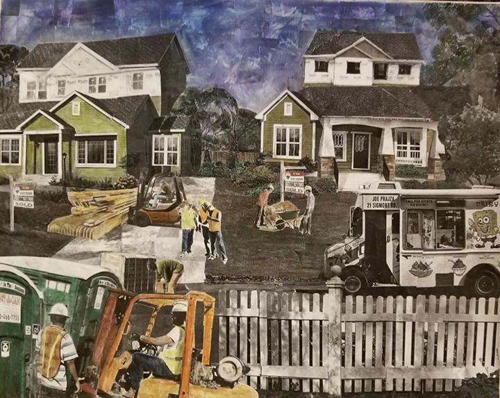 """Series: """"This is America"""" (America Gentrified)  Title: """"Gentrified"""" Medium: Collage on Canvas Size: 20""""x16""""   On Display Harvey Gantt Center, Charlotte NC"""