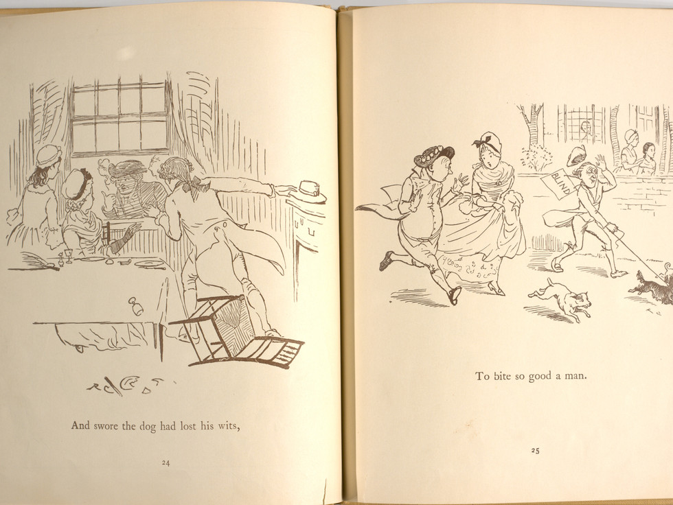 Goldsmith, Oliver, and Randolph Caldecott. An Elegy on the Death of a Mad Dog. London and New York: Frederick Warne & Co, 1766. p.25-26. Ryerson University Library and Archives.