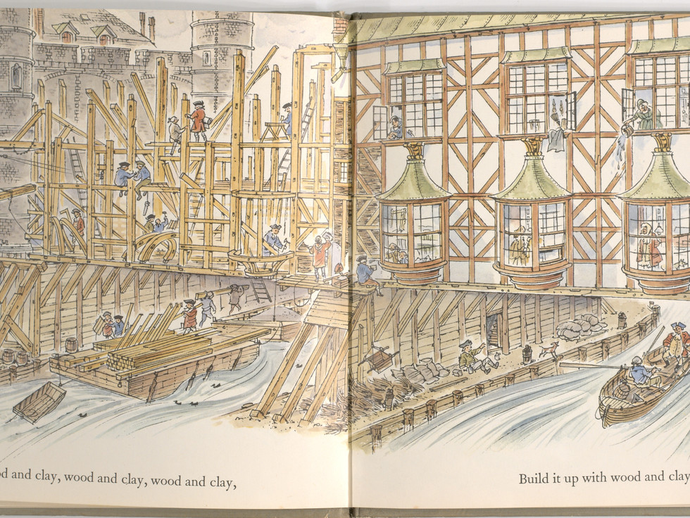 Spier, Peter. London Bridge Is Falling Down. Doubleday Books for Young Readers, 1985. p. 7-8. Ryerson University Library and Archives.