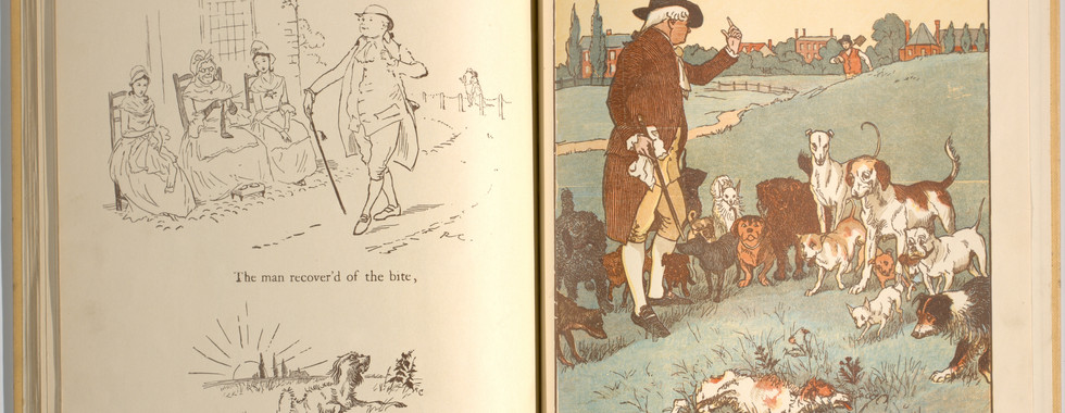 Goldsmith, Oliver, and Randolph Caldecott. An Elegy on the Death of a Mad Dog. London and New York: Frederick Warne & Co, 1766. p.31-32. Ryerson University Library and Archives.