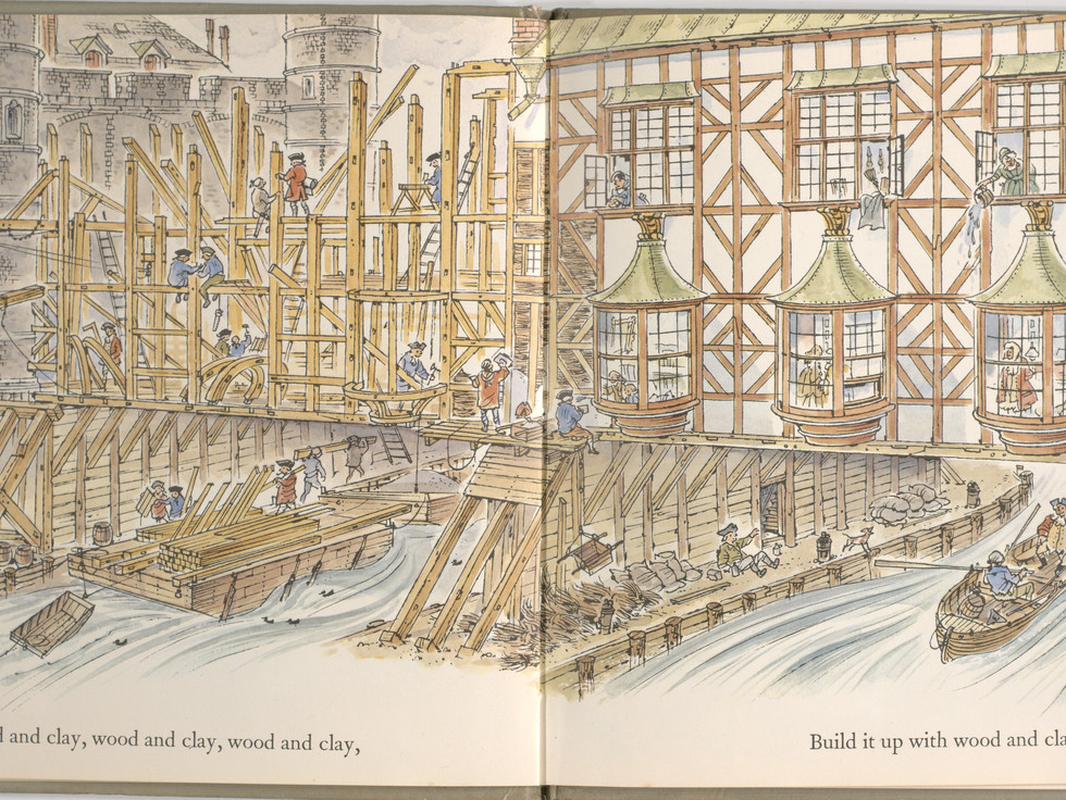 Spier, Peter. London Bridge Is Falling Down. Doubleday Books for Young Readers, 1985. p. 9-10. Ryerson University Library and Archives.