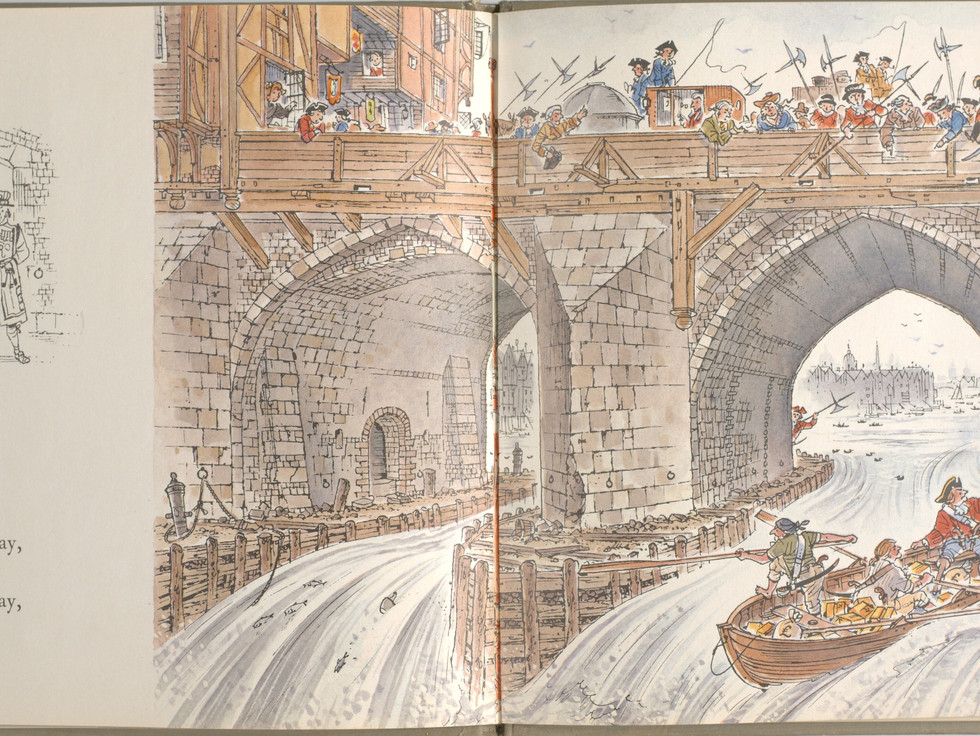 Spier, Peter. London Bridge Is Falling Down. Doubleday Books for Young Readers, 1985. p. 23-24. Ryerson University Library and Archives.