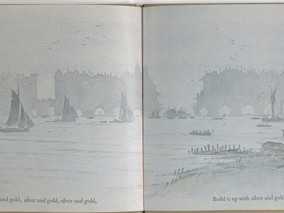 Spier, Peter. London Bridge Is Falling Down. Doubleday Books for Young Readers, 1985. p. 21-22. Ryerson University Library and Archives.