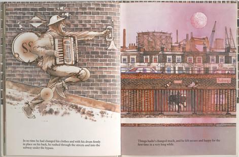 Keeping, Charles. Sammy Streetsinger. Oxford University Press, 1984. p.31-32. Ryerson University Library and Archives.