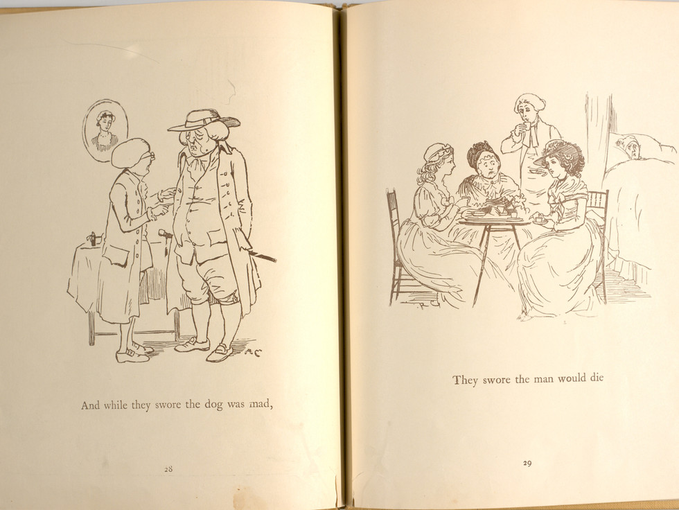 Goldsmith, Oliver, and Randolph Caldecott. An Elegy on the Death of a Mad Dog. London and New York: Frederick Warne & Co, 1766. p.29-30. Ryerson University Library and Archives.