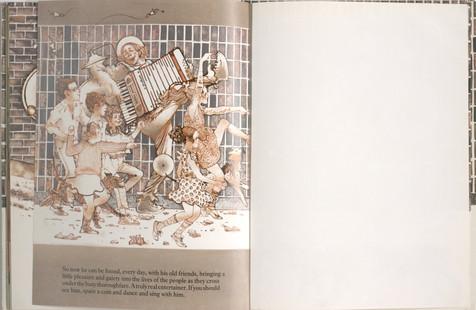 Keeping, Charles. Sammy Streetsinger. Oxford University Press, 1984. p.33-34. Ryerson University Library and Archives.