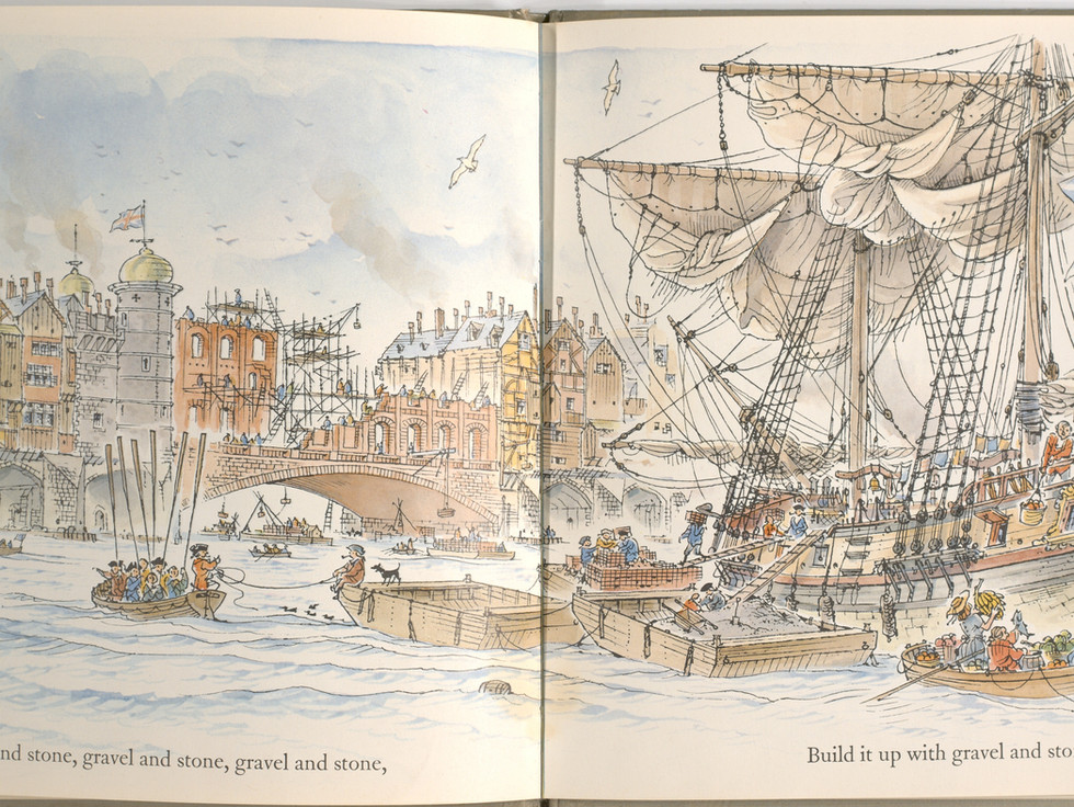 Spier, Peter. London Bridge Is Falling Down. Doubleday Books for Young Readers, 1985. p. 17-18. Ryerson University Library and Archives.