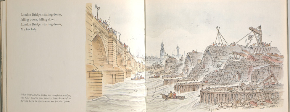 Spier, Peter. London Bridge Is Falling Down. Doubleday Books for Young Readers, 1985. p. 36-37. Ryerson University Library and Archives.