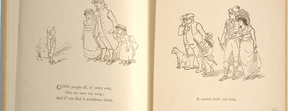Goldsmith, Oliver, and Randolph Caldecott. An Elegy on the Death of a Mad Dog. London and New York: Frederick Warne & Co, 1766. p.5-6. Ryerson University Library and Archives.