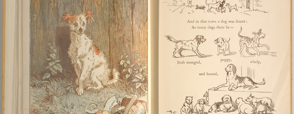 Goldsmith, Oliver, and Randolph Caldecott. An Elegy on the Death of a Mad Dog. London and New York: Frederick Warne & Co, 1766. p.15-16. Ryerson University Library and Archives.
