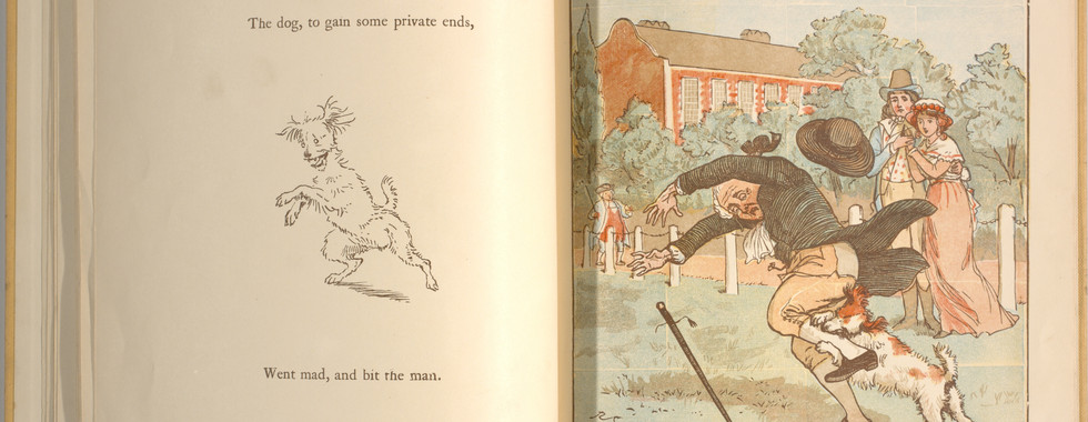 Goldsmith, Oliver, and Randolph Caldecott. An Elegy on the Death of a Mad Dog. London and New York: Frederick Warne & Co, 1766. p.19-20. Ryerson University Library and Archives.