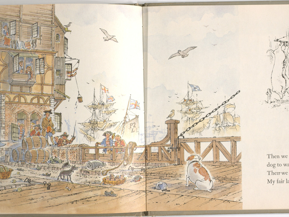 Spier, Peter. London Bridge Is Falling Down. Doubleday Books for Young Readers, 1985. p. 31-32. Ryerson University Library and Archives.
