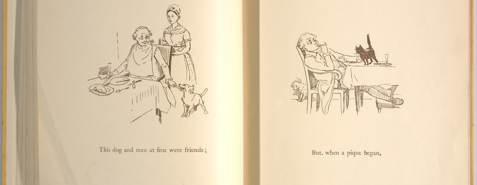 Goldsmith, Oliver, and Randolph Caldecott. An Elegy on the Death of a Mad Dog. London and New York: Frederick Warne & Co, 1766. p.17-18. Ryerson University Library and Archives.
