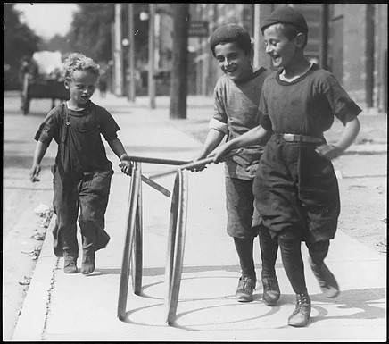 Jewish Boys with Hoops, William James, 1910-1930, Fonds 1244, Series 2119, Item 39.24, William James Lantern Slides, City of Toronto Archives