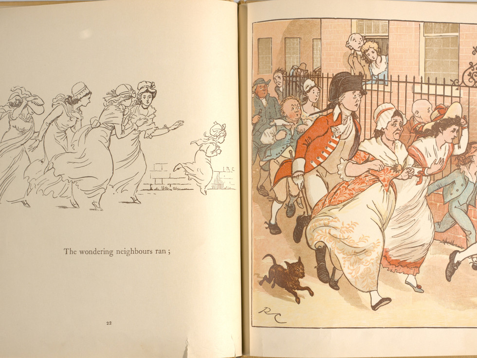 Goldsmith, Oliver, and Randolph Caldecott. An Elegy on the Death of a Mad Dog. London and New York: Frederick Warne & Co, 1766. p.23-24. Ryerson University Library and Archives.