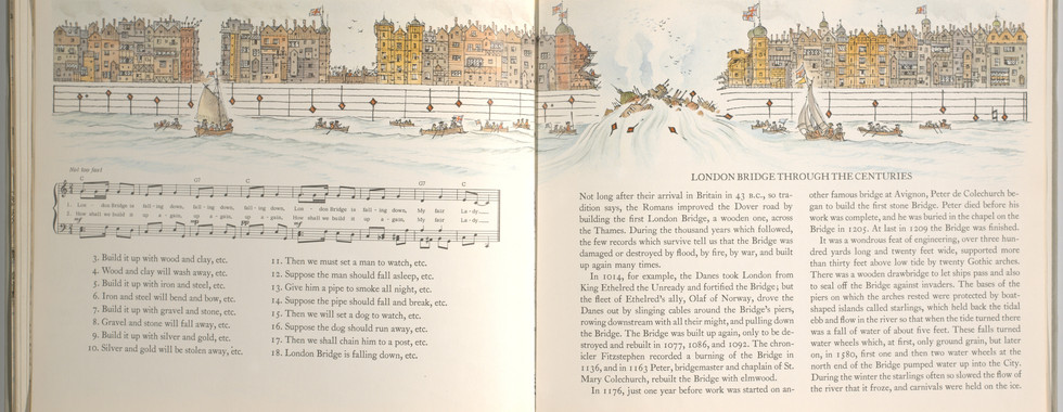 Spier, Peter. London Bridge Is Falling Down. Doubleday Books for Young Readers, 1985. p. 38-39. Ryerson University Library and Archives.
