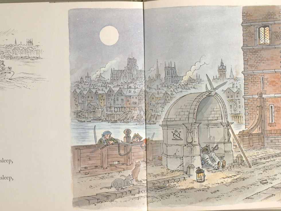 Spier, Peter. London Bridge Is Falling Down. Doubleday Books for Young Readers, 1985. p. 27-28. Ryerson University Library and Archives.